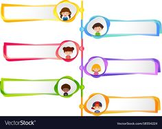 Six labels with happy kids vector image on VectorStock