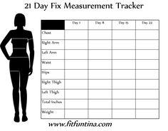 21 Day Fix Measurement Tracker