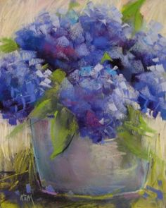 Hydrangeas 8x10 pastel, painting by artist Karen Margulis                                                                                                                                                                                 Más