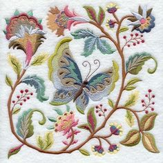 embroidered butterfly & flowers