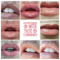 """If you've been stalking LipSense for a while and you just don't know where to start here are some great beginner colors. These are called """"neutrals"""" or your """"nude"""" colors. You can't go wrong with any of these selections. These colors come in shimmer, matte and frost. What do you want to try on?"""