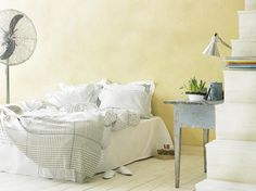 #Painting your #bedroom #yellow is thought to improve your mood and make getting up easier! #Tikkurila #TexturedFinish
