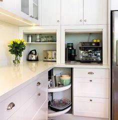Kitchen Appliance Storage, Small Kitchen Storage, Small Space Kitchen, Big Kitchen, Small Kitchen Appliances, Kitchen Cabinets, Small Kitchens, Small Spaces, Dyi Kitchen Ideas