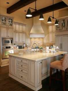 Island and cabinets