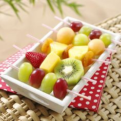 Hands-free fruit kebabs - perfect for sandy hands at a beach picnic