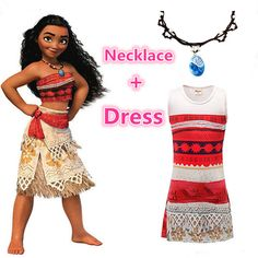 Deals For $5.53, Buy Moana Necklace and Dress set Cosplay Dress for Children Princess clothing Halloween Christmas Costumes for Kids Girl Vaiana Gift