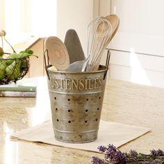 Zinc Draining Bucket for Cutlery & Utensils