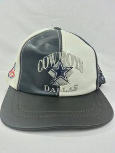 03742213cdd Vintage 90s Dallas Cowboys 100% Leather Snapback Hat NFL Football
