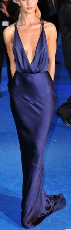 RHW :  Navy Deep V Cut Gown |=