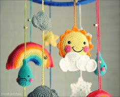 Sunny day chasing the clouds away baby crib mobile from http://www.etsy.com/listing/98234396/reserve-for-joslin-baby-mobile-baby-crib#