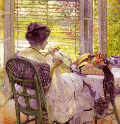 The Milliner by Richard Miller, Woman painting,  http://www.chinaoilpaintinggallery.com/r-richard-miller-c-58_84_1236/the-milliner-p-27292