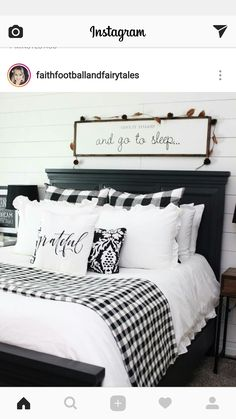 Pretty Farmhouse Master Bedroom Decorating Ideas An open family room and kitchen where the family eats is designed in charming farmhouse style which makes it a warm and welcoming heart for the home. The focal point. Plaid Bedroom, Bedroom Black, Modern Bedroom, Contemporary Bedroom, Bedroom Small, Single Bedroom, Trendy Bedroom, Bedroom Colors, Spare Bedroom Ideas