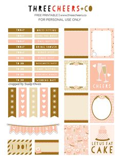 FREE Bridal Planner Sticker Printable by Three Cheers + Co