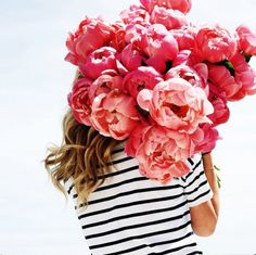 Peonies + stripes // Pinned by andathousandwords.com