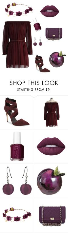 """Plum and Wine"" by tigerstripes ❤ liked on Polyvore featuring Daya, Chicwish, Essie, Lime Crime, Martick and Chanel"