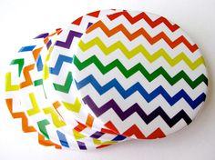 Rainbow Home Decor // Chevron Coasters // Set of 6. $18.00, via Etsy.