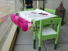 This is a birthday-present for a two-year-old li´l princess. When she saw the unequipped table first time, she asked instantly for the crayons. Strike! LÄTT table with two chairs. BYGEL bar and cups. BLECKA hooks. MALA paper-roll. piece of a broomstick. drawer made of canvas, hardboard, hotglue, some screws and two magnetic catches. painting and [&hellip