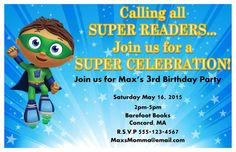 Super Why Birthday Party Invitation by KiddiePartyCreations