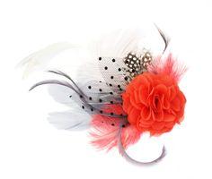 Headpieces & Fascinators - Haarschmuck Fascinator Wassermelone koralle grau - ein Designerstück von billies bei DaWanda
