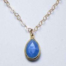 Blue Chalcedony & Goldfill Necklace www.jewelya.com
