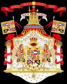 ESCUDO de la Casa de Borbón (1700-1808). Gran escudo de armas utilizado desde Carlos III hasta Alfonso XIII en 1931.