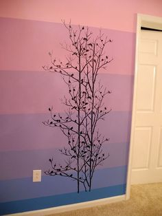 "Way to go, Ava! She painted our Birds in Trees Allover on an ombre wall.  She said ""I plucked up my courage this afternoon and just got it done!""  buy the stencil: http://www.cuttingedgestencils.com/birds-in-trees-wall-stencil-pattern.html  #wall #stencils"