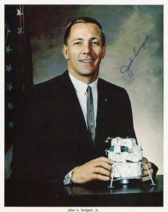 """Does this LEM come with ladies? What? It was just a question."" International playboy Jack Swigert in a 1966 NASA portrait, featuring an autopen signature."