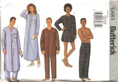 """Butterick Sewing Pattern 6885 Misses Mens Chest Size 30-40"""" Unisex Nightshirt Pants Pajamas Top"""