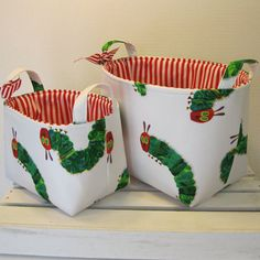 Very Hungry Caterpillar Storage Organization Fabric Basket by BaffinBags on Etsy  ✂ Free Tutorial - Reversible Household Storage Basket:   http://patternpile.com/sewing-patterns/reversible-household-storage-basket-free-tutorial/  #sewing