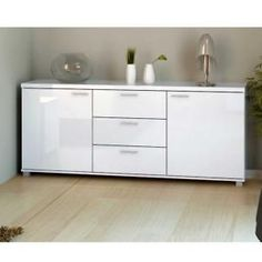 Milano High Gloss White Sideboard Chest Dresser With ...