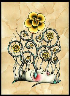 Yellow Rose Girl Flash Art