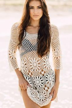 Crochet Cover up - Boho Crochet Tunic White JValdi