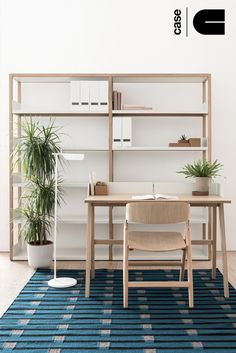 Case Lap Shelving and Narin Chair.  https://simonjamesdesign.com/case/lap-tall-shelving-two-bay