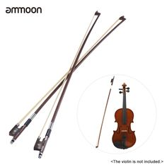 (15.5$)  Know more - http://ai8z3.worlditems.win/all/product.php?id=I2433-2 - ammoon Full Size 4/4 Violin Fiddle Bow Well Balanced Round Brazil Wood Stick Horsehair Exquisite, Pack of 2pcs