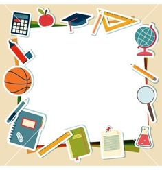 School supplies and tools with place for text vector frame by Barmaleeva on VectorStock®