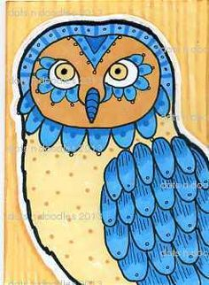 'Whimsical Owl 5' by dots 'n' doodles