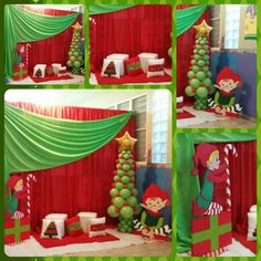 Duendes navideños Gingerbread Christmas Decor, Grinch Christmas Decorations, Grinch Christmas Party, Christmas Photo Booth, Grinch Party, Christmas Balloons, Office Christmas Party, Christmas Backdrops, Christmas Events