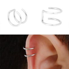 New Design Silver Plated Ear CUFF Helix Cartilage Ring Fake Piercing Clip On Earrings for Women Small Accessories Jewe Ear Cuff Jewelry, Cuff Earrings, Body Jewelry, Clip On Earrings, Jewelry Sets, Jewelry Accessories, Cartilage Ring, Fake Piercing, Piercings For Girls