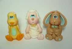 Edible Fondant Cake Toppers - Chick, Lamb, Bunny. $30.00, via Etsy.