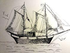 How to draw a ship in ink! Drawing a sailing ship! Check out a video tutorial on how to draw a simple ship, but with good looking details!