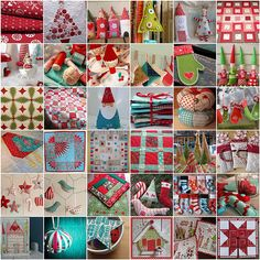 Christmas mosaic by Frangines Love the green/red/white pineapple quilt on the fart left Christmas Sewing, Noel Christmas, All Things Christmas, Handmade Christmas, Christmas Houses, Xmas Ornaments, Christmas Decorations, Fabric Ornaments, Handmade Ornaments