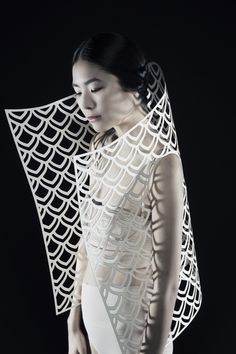 Sculptural Fashion with laser cut patterns & exaggerated silhouette - wearable art; creative fashion // Kamilya Kuspan
