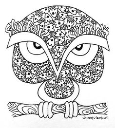 Owl Zen Tangle from skinnystraycat Abstract Doodle Zentangle Coloring pages colouring adult detailed advanced printable Kleuren voor volwassenen coloriage pour adulte anti-stress
