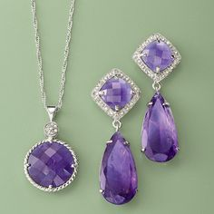 Lavished with cushion-cut and pear-shaped amethysts and trimmed with  diamonds. Amethyst Drop Necklace in Sterling Silver. >>Click on the Amethyst Jewelry to shop more styles at Ross-Simons.