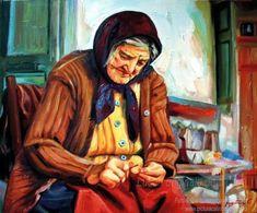 Portret de femeie bătrână pe prispă portret pictat în ulei pe pânză pictură originală tablou portret în ulei pe pânză pictură realistă hiperrealistă portret unicat semnat de pictorul român Călin Bogătean, membru al Uniunii Artistilor Plastici din Romania. Portret de femeie bătrână pe prispă  pictură tablou în ulei Artist Painting, Animals, Animales, Animaux, Animal, Animais