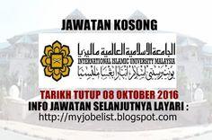 Jawatan Kosong di Universiti Islam Antarabangsa Malaysia (UIAM) - 08 Oktober 2016  Jawatan kosong kerajaan terkini di Universiti Islam Antarabangsa Malaysia (UIAM) Oktober 2016. Permohonan adalah dipelawa daripada warganegara Malaysia yang berkelayakan untuk mengisi kekosongan jawatan kosong terkini di Universiti Islam Antarabangsa Malaysia (UIAM) sebagai :1. MEDICAL LABORATORY TECHNOLOGIST (U29)2. ASSISTANT PHARMACIST (U29)3. MEDICAL HEALTH ASSISTANT (U11)4. ASSISTANT ACCOUNTANT (W29)5…