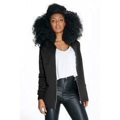 Boohoo Petite Petite Layla Longline Scuba Bomber Jacket ($44) ❤ liked on Polyvore featuring outerwear, jackets, black, puff jacket, blouson jacket, duster coat, bomber style jacket and flight jacket