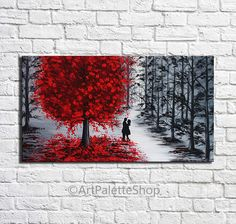 Couples in love, canvas art, Gifts for her, Red tree, Acrylic painting on canvas, Man and woman, Romantic painting, Kiss painting, Modern wall art Acrylic painting on canvas, Size 20 x 36 inches (50 x 90 cm). The painting used high quality acrylic paints on canvas. The sides of the