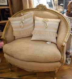 Gold French Rounded Chair with Burlap