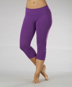 Take a look at this Purple Magic Pleated Capri Leggings by Marika on #zulily today!